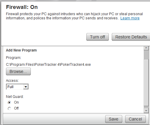McAfee Poker Tracker 4 Firewall