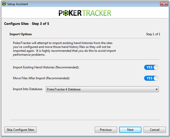 Initial Import Poker Tracker 4