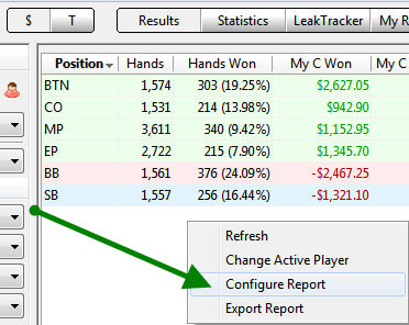 Configure PokerTracker 4 Reports