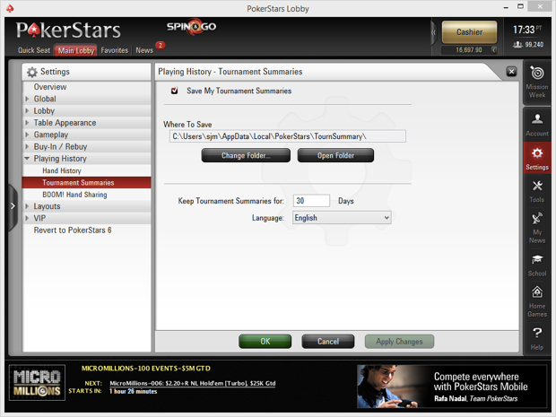 PokerStars Tournament Summaries
