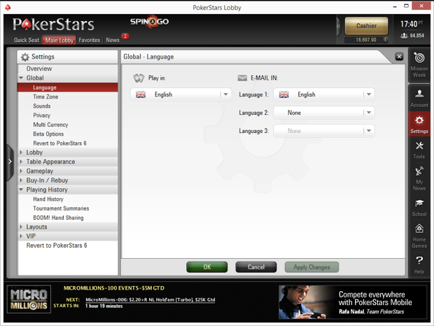 PokerStars Language Options