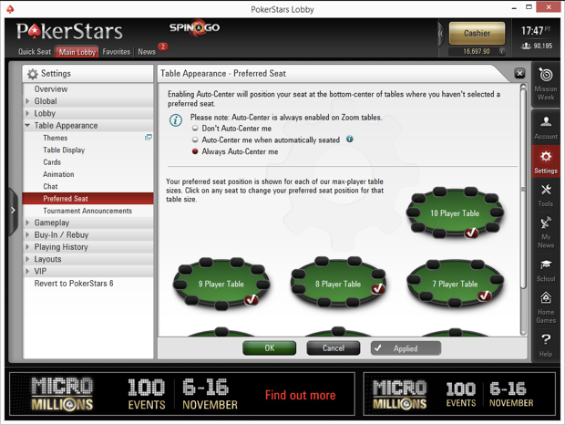 Setting Preferred Seating On PokerStars